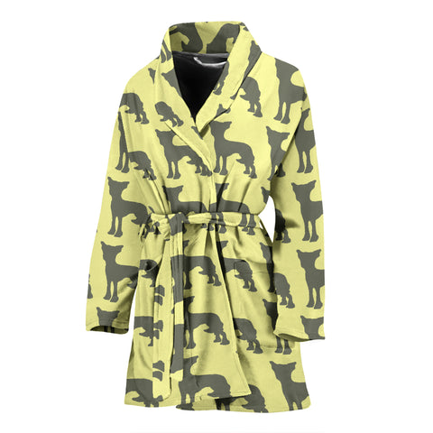 Chinese Crested Dog Pattern Print Women's Bath Robe