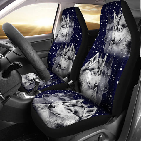 Siberian Husky Dog Art Print Car Seat Covers