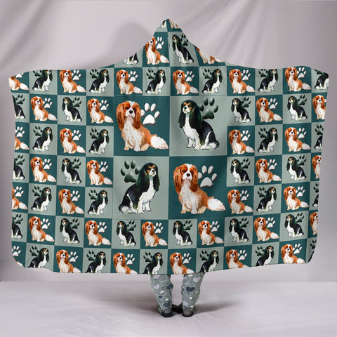 Cavalier King Charles Spaniel Dog Pattern Print Hooded Blanket