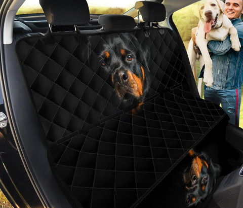 Rottweiler On Black Print Pet Seat Covers