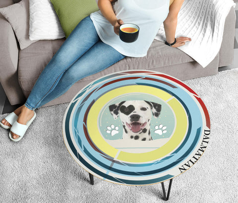 Dalmatian Dog Print Circular Coffee Table
