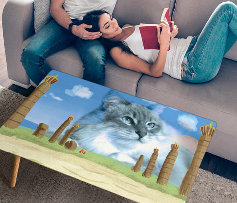 Cute Siberian Cat Print Rectangular Coffee Table