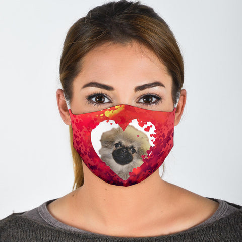 Pekingese On Heart Print Face Mask- Limited Edition