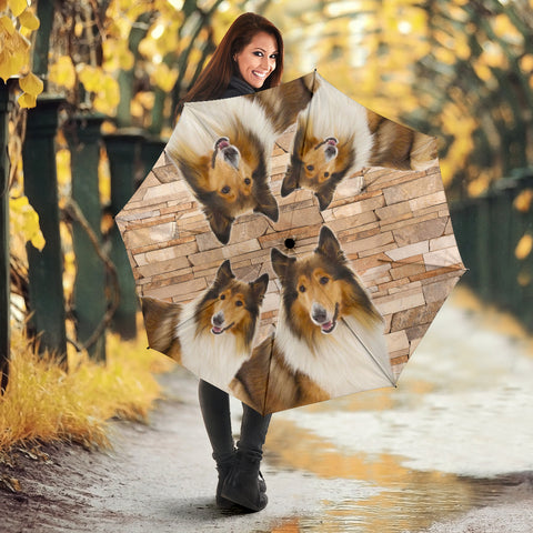 Rough Collie Print Umbrellas