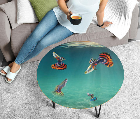 Guppy Fish Print Circular Coffee Table