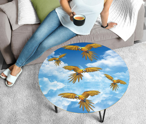 Blue And Yellow Macaw In Sky Print Circular Coffee Table