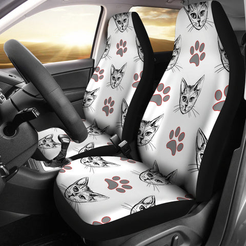 Cute Cat and Paws Print Car Seat Covers