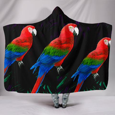 Red And Green Macaw Parrot Print Hooded Blanket