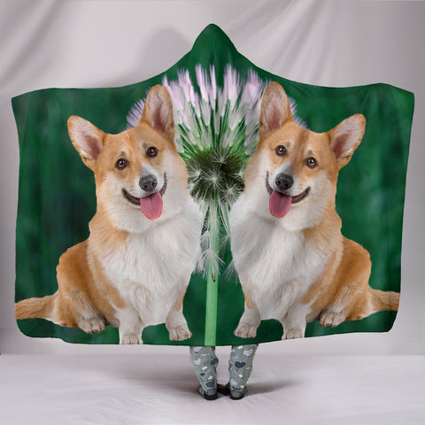 Cardigan Welsh Corgi Dog Print Hooded Blanket