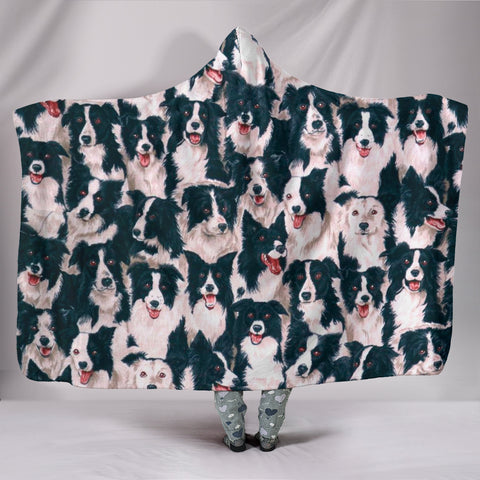 Border Collie Dog In Lots Print Hooded Blanket