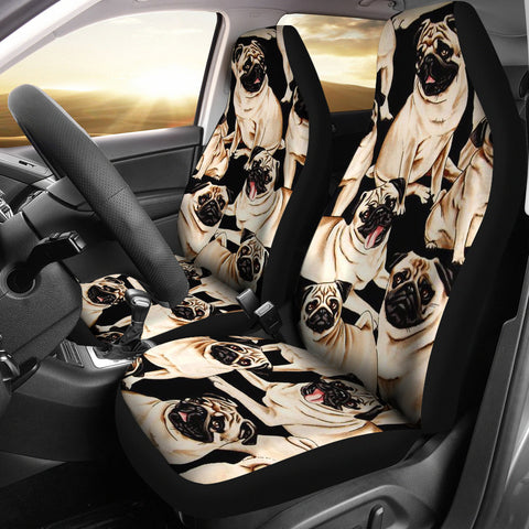 Pug Dog Pattern Print Car Seat Covers
