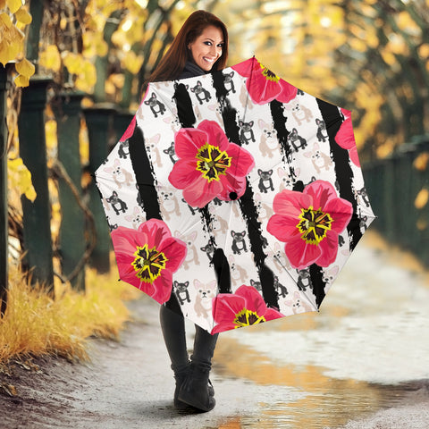 French Bulldog Floral Print Umbrellas
