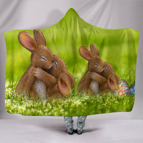 Cute Easter Bunny Print Hooded Blanket