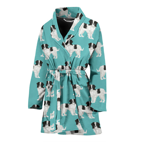 Lovely Japanese Chin Dog Pattern Print Women's Bath Robe