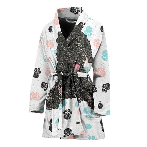 Spanish Water Dog Print Women's Bath Robe