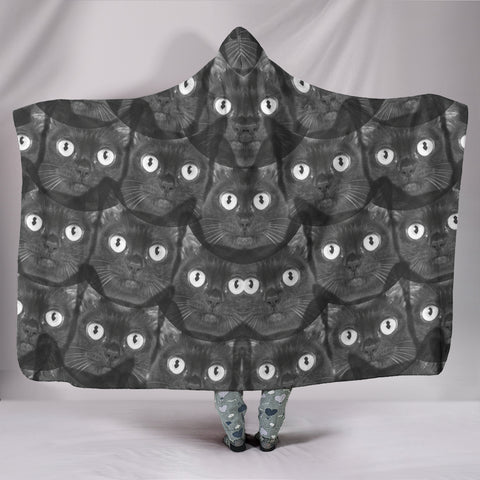 Cats Eyes Print Hooded Blanket