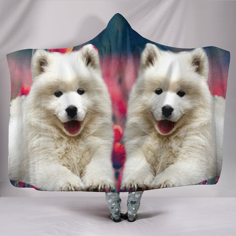 Samoyed Dog Print Hooded Blanket