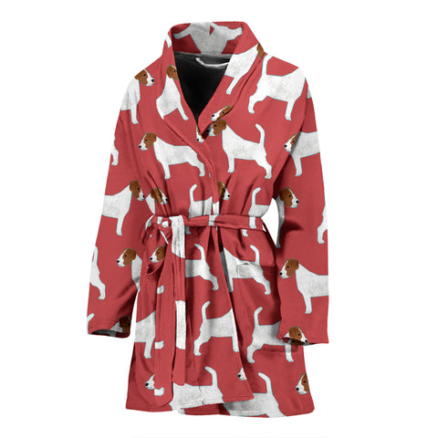 Russell Terrier Dog Pattern Print Women's Bath Robe