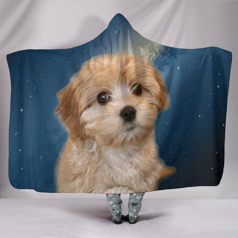 Cavapoo Puppy Print Hooded Blanket