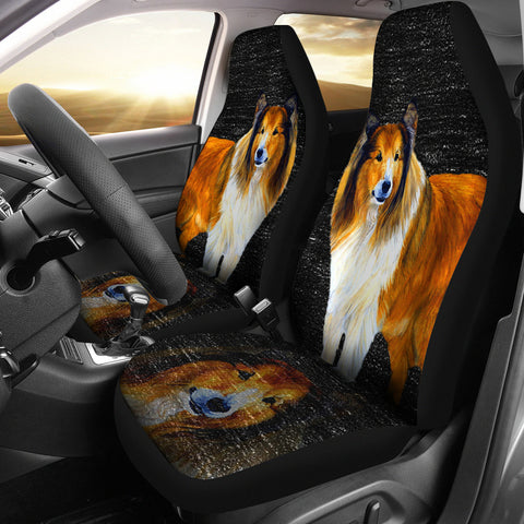 Rough Collie Dog Print Car Seat Covers