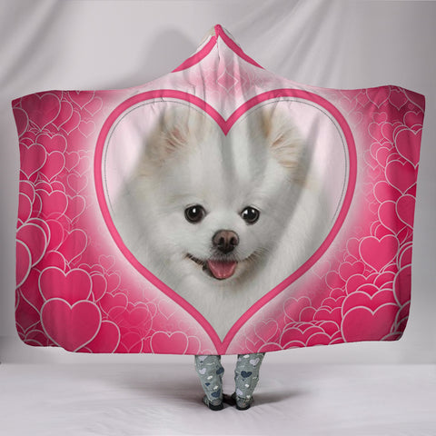 Pomeranian Dog Print Hooded Blanket