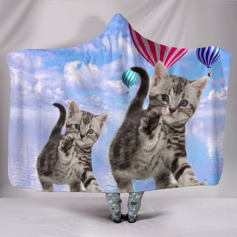 American Shorthair Cat Print Hooded Blanket