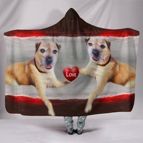 Border Terrier Love Print Hooded Blanket