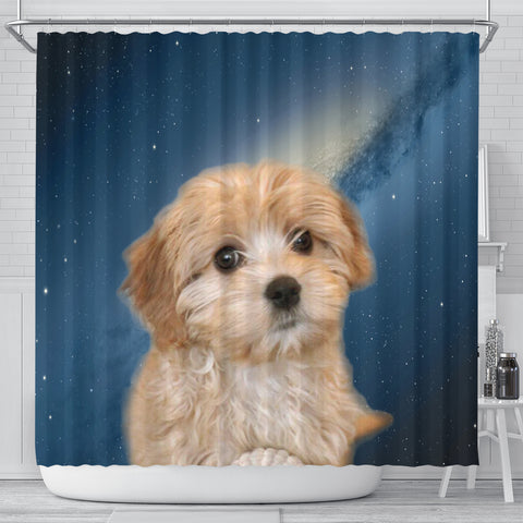 Cavapoo Puppy Print Shower Curtains