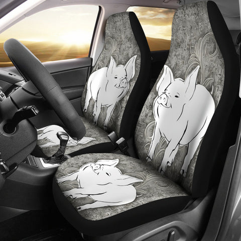 Middle White Pig Print Car Seat Covers