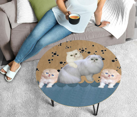 Cute Persian Cat Print Circular Coffee Table