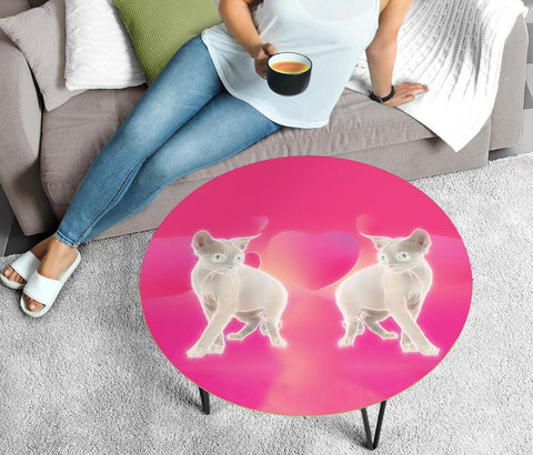 Devon Rex Cat Print Circular Coffee Table