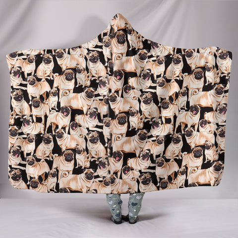 Pug Dog Pattern Print Hooded Blanket