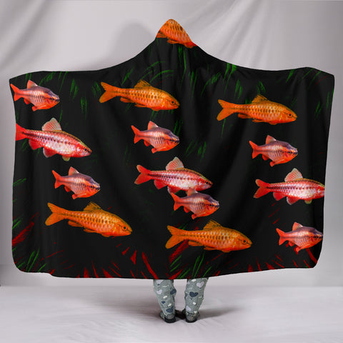 Cherry Barb Fish Print Hooded Blanket