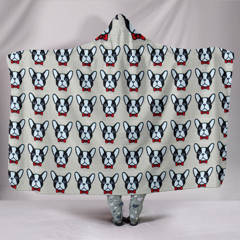 French Bulldog Pattern Print Hooded Blanket