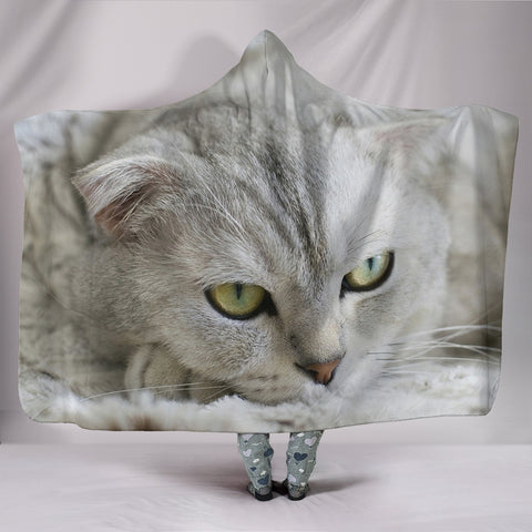Lovely Scottish Fold Cat Print Hooded Blanket
