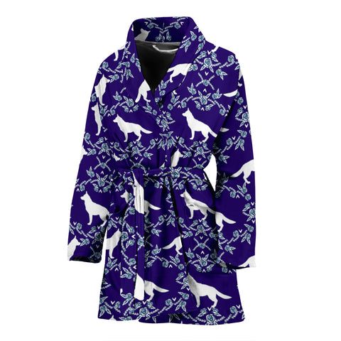 German Shepherd Dog Floral Print Women's Bath Robe