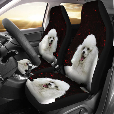 Cute Poodle Dog Print Car Seat Covers