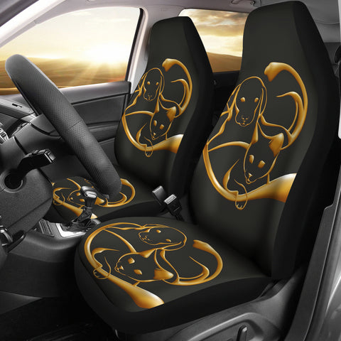 Cat And Dog Golden Art Print Car Seat Covers