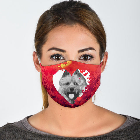 Norwich Terrier On Heart Print Print Face Mask