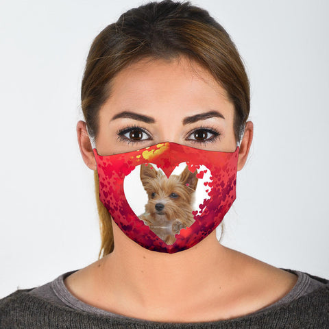 Australian Terrier On Heart Print Face Mask
