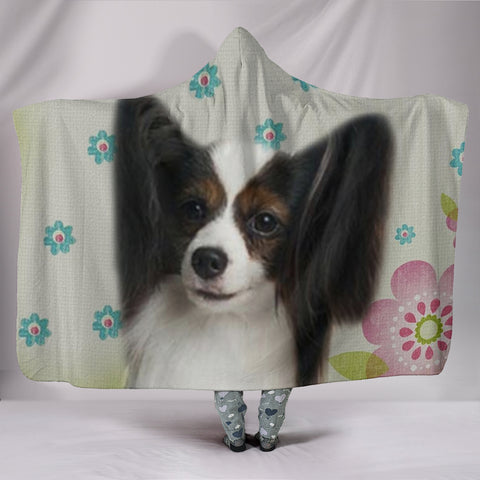 Papillon dog Print Hooded Blanket