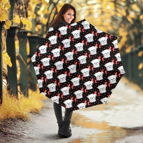 Maltese Dog Heart Pattern Print Umbrellas