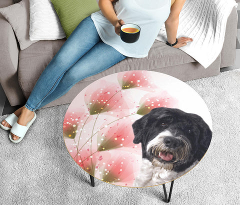Cute Portuguese Water Dog Print Circular Coffee Table