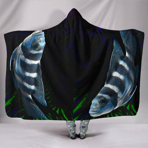 African Cichlid Fish Print Hooded Blanket