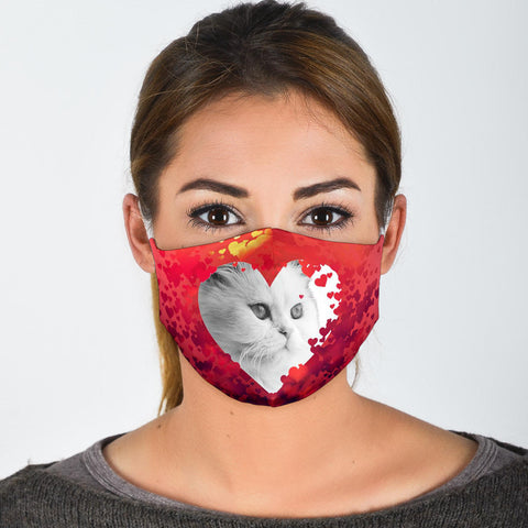 Persian Cat On Heart Print Face Mask- Limited Edition