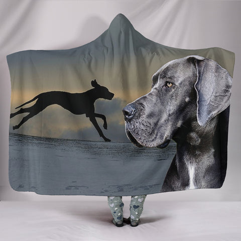 Great Dane Dog Print Hooded Blanket