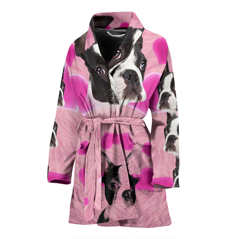 Boston Terrier On Pink Print Women's Bath Robe