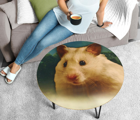 Golden Hamster Print Circular Coffee Table