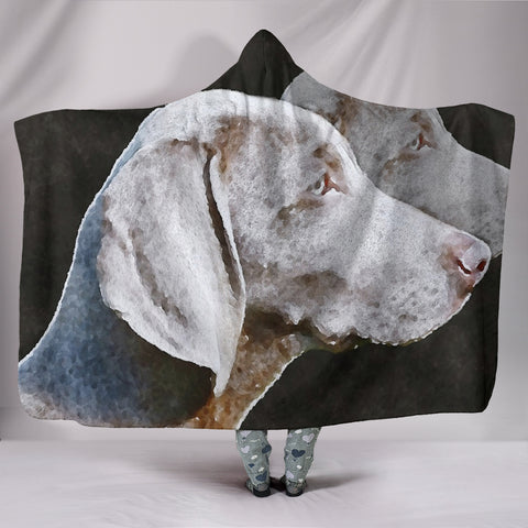 Weimaraner Dog Watercolor Art Print Hooded Blanket
