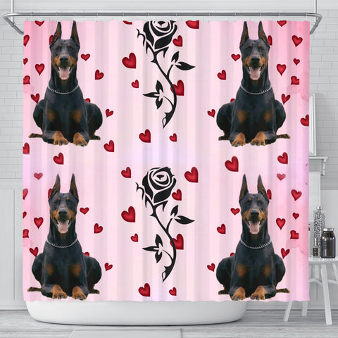 Doberman Pinscher With Rose Print Shower Curtain